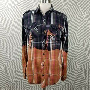 Distressed Flannel Small Handmade Shirt Bleach dye